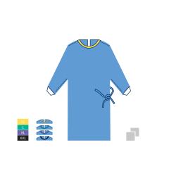 Halat chirurgical STANDARD - 35 SMS - M - Galben - (1 bucata + 2 prosoape absorbante 30cm x 30cm)