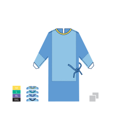 Halat chirurgical NORMAL - STANDARD PLUS - 45 SSMMS - XXL - Negru - (1 bucata + 2 prosoape absorbante 30cm x 30cm)